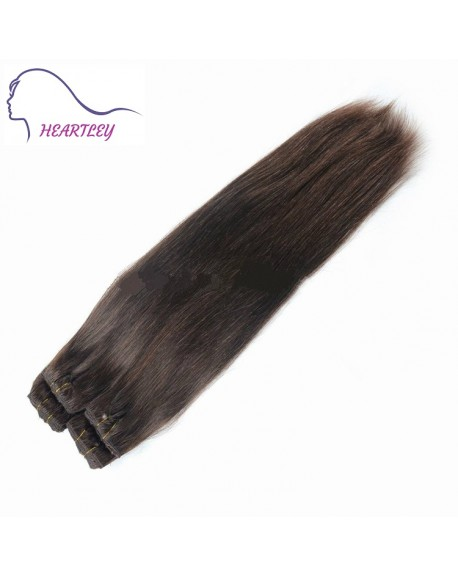 HEARTLEY Dark Brown Hair Color Silk Straight Stylish Brazilian Remy Clip In Hair Extensions