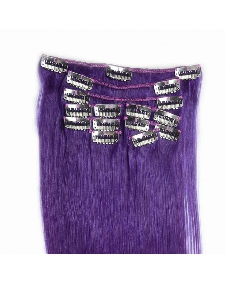 "HEARTLEY 18"" Purple Brazilian Remy Human Hair Nature Straight Clip In Hair Extensions"