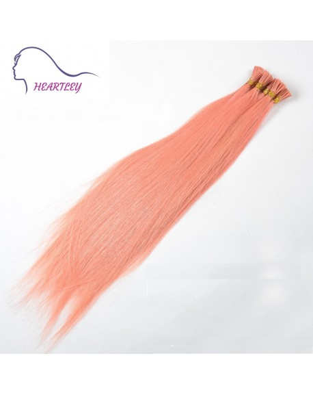 "HEARTLEY 18"" I Tip Hair Extensions Pink Color 100 Strands Straight Real Human Hair Extensions"