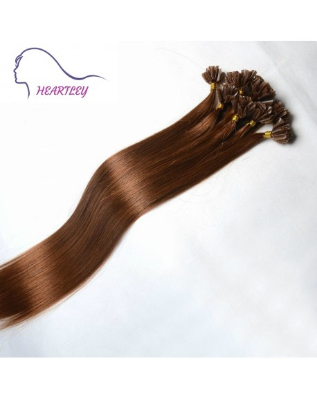 "HEARTLEY Women 18"" Human Hair Medium Brown Nature Straight 100 Strands U Tip Hair Extensions"