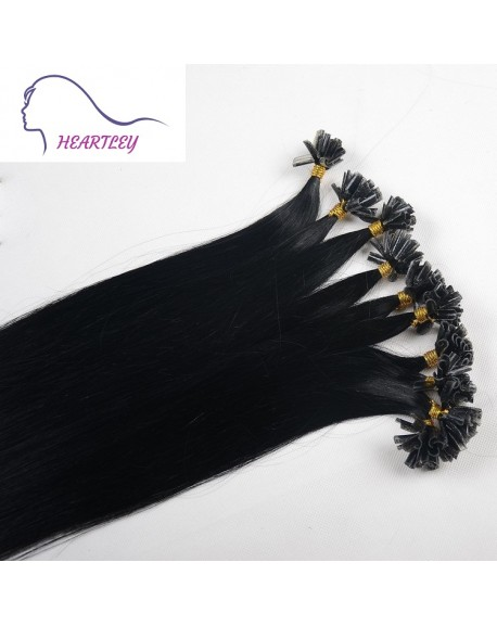 HEARTLEY Black Fusion Straight Brazilian Remy Hair 100 Strands 18 inch U Tip Hair Extensions
