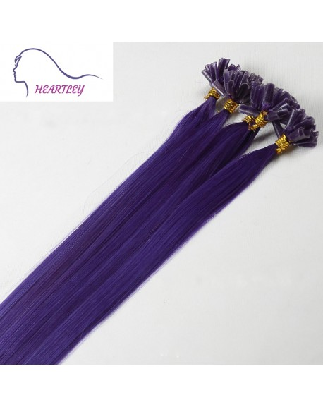 """HEARTLEY 18"""" Purple U Tip Fusion Remy Human Hair Extensions 100 Strands Colored Straight Nail Shape"""