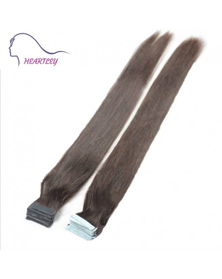 "HEARTLEY 18"" Dark Brown Silky Straight Human Remy Hair 40 Pieces Tape in Hair Extensions"