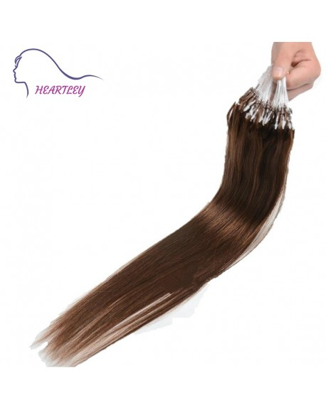 HEARTLEY 18 Inch 100 Strands Loop Micro Ring Beads Tipped Remy Human Hair Straight Chocolate Brown Extensions