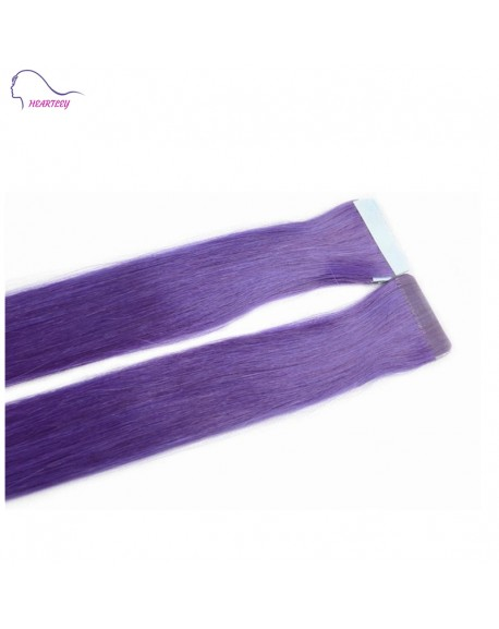 "HEARTLEY 18"" Tape In Hair Extensions Purple Straight Remy Human Tape Hair Natural Looking"