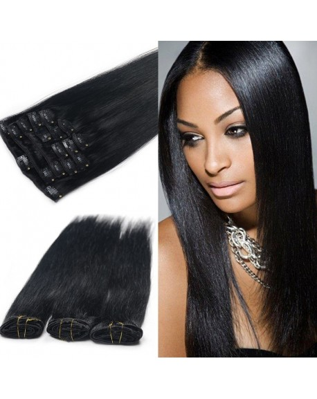 "16"" Nature Black 9 Pieces Peruvian Straight Clip In Remy Hair Extensions"