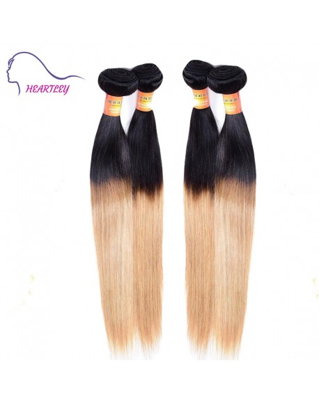 24 Inch Peruvian Remy Hair Ombre Black Honey Blonde Hair Weaving Extensions