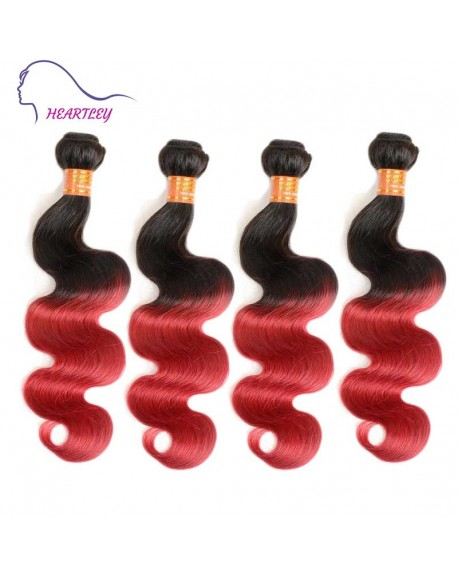 24 Inch Brazilian Black Burgundy Ombre Body Wave Hair Extensions 4 Bundles