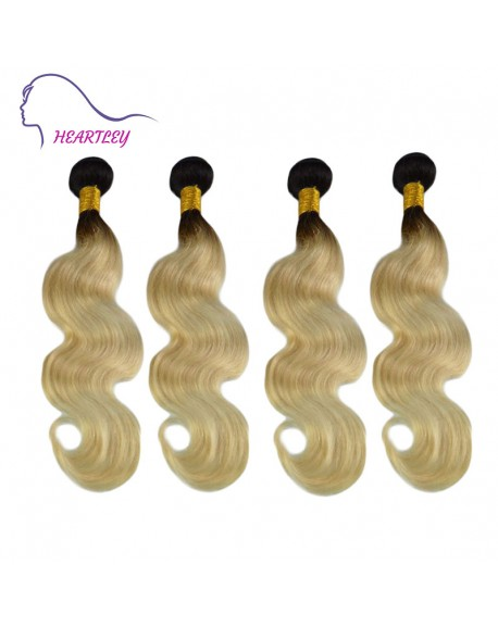 20 Inch Ombre Black Light Blonde Body Wave Brazilian Hair Extensions 4 Bundles