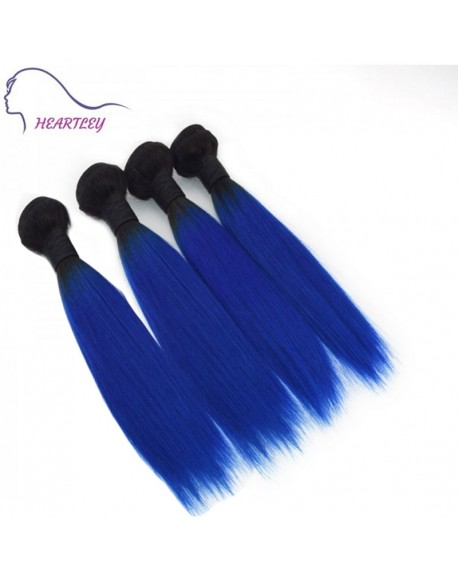 16 Inch Brazilian Human Hair Ombre Black Blue Straight Remy Hair Extensions