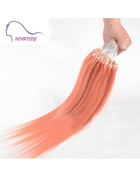 18 Inch Brazilian Pink Colored Hair Extensions Micro Loop Remy Human Hair