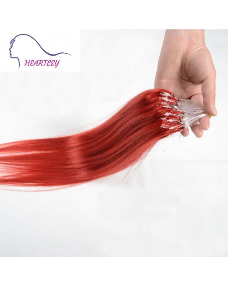 18 Inch Micro Bead Red Hair Extensions Brazilian Straight Remy Human Hair