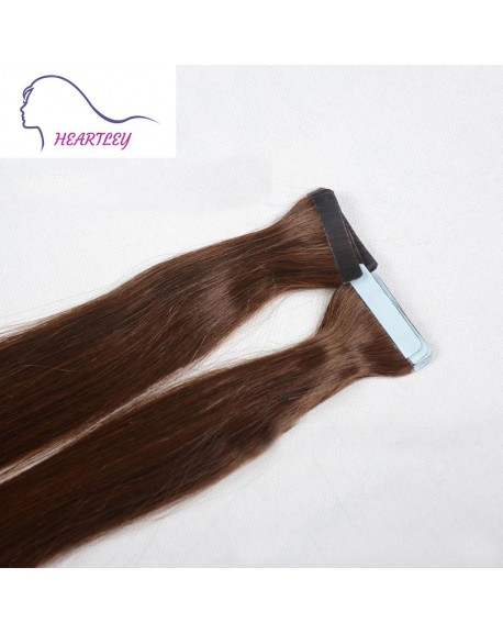 Chocolate Brown 18 Inch Tape Hair Extensions Brazilian Real Straight Human Hair