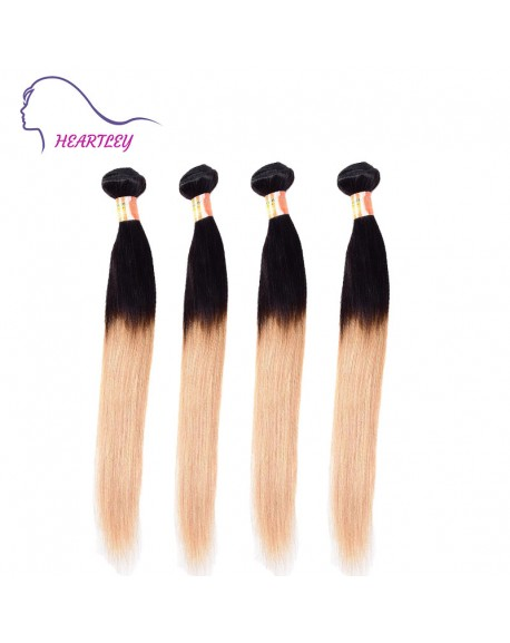 22 Inch Black Honey Blonde Ombre Indian Remy Hair Extensions 4 Bundles Hair Weave