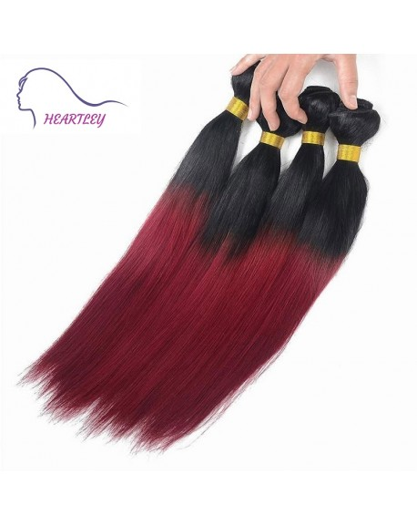 22 Inch Silky Straight Black Burgundy Ombre Hair Weaves Peruvian Remy Hair Extensions 4 Bundles