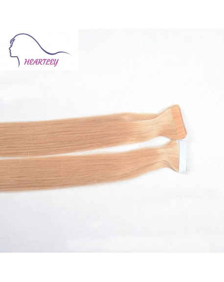 18 Inch Light Strawberry Blonde Remy Tape In Hair Extensions Brazilian Human Hair