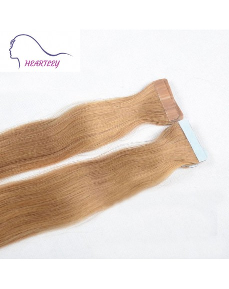 "18"" Strawberry Blonde Tape Natural Hair Extensions Brazilian Remy Straight Human Hair"