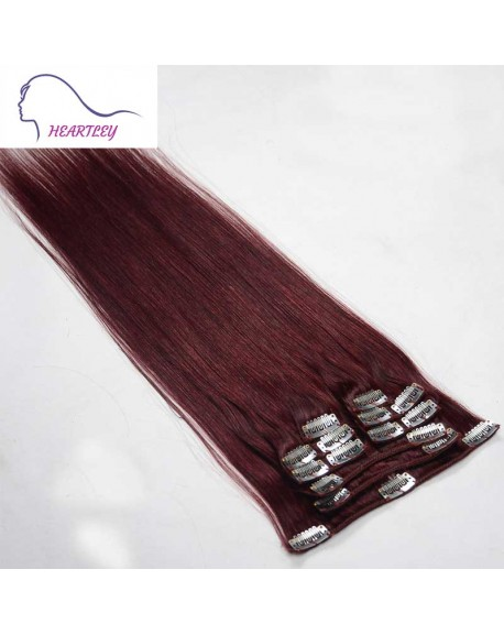 22 Inch Red Wine Clip In Remy Human Hair Extensions Brazilian Natural Human Hair 9 Pieces/Set