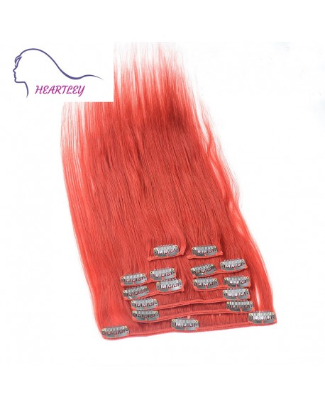 18 Inch Red Clip In Hair Extensions Brazilian Remy Straight Human Hair 9 Pieces