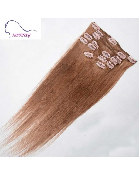 16 Inch Clip In Hair Extensions Peruvian Remy Human Hair Straight Ash Brown