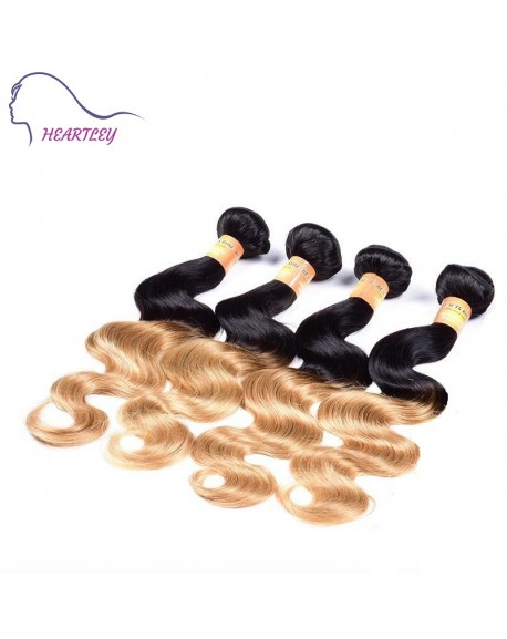18 Inch Black Strawberry Blonde Ombre Hair Weaves Brazilian Body Wave Human Hair Extensions  4 Bundles