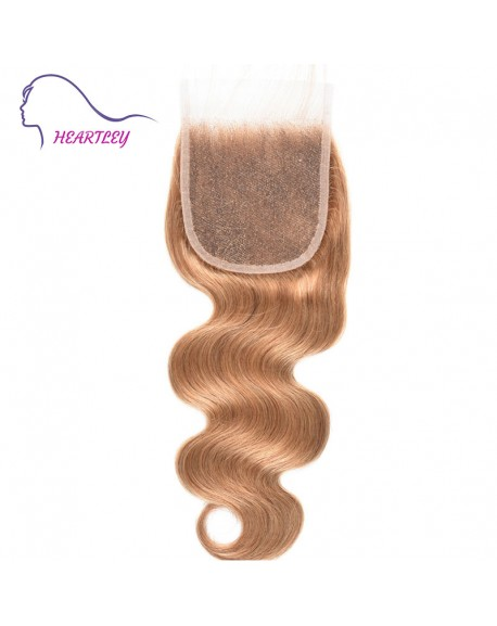 Body Wave Closure Weaves Honey Blonde Brazilian Hand Tied 4x4 Swiss Lace Closure Pieces