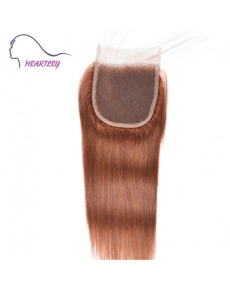 Brazilian Brown Human Hair Straight Closure Weave 4x4 Inch Hand-Tied Swiss Lace Closure Pieces