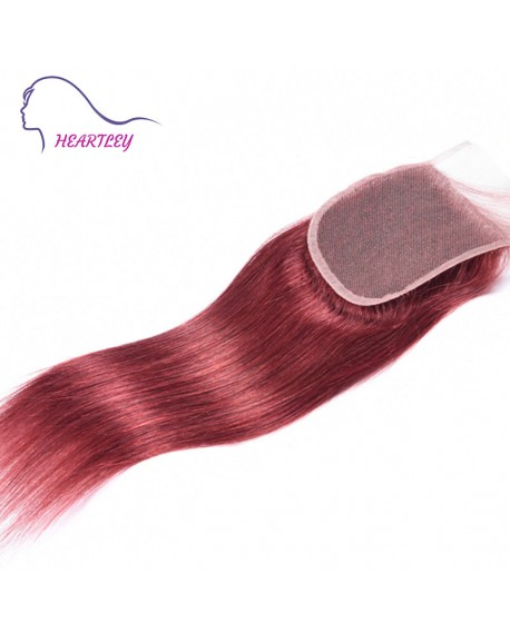 """4""""x4"""" 130% Density Swiss Lace Closure Pieces Red Brown Straight Brazilian Human Hair"""