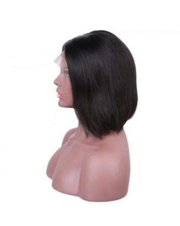150 Density Natural Black Brazilian Human Hair Lace Frontal Bob Wigs