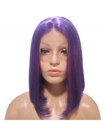 150 Density Purple Brazilian Remy Hair Lace Frontal Bob Wigs