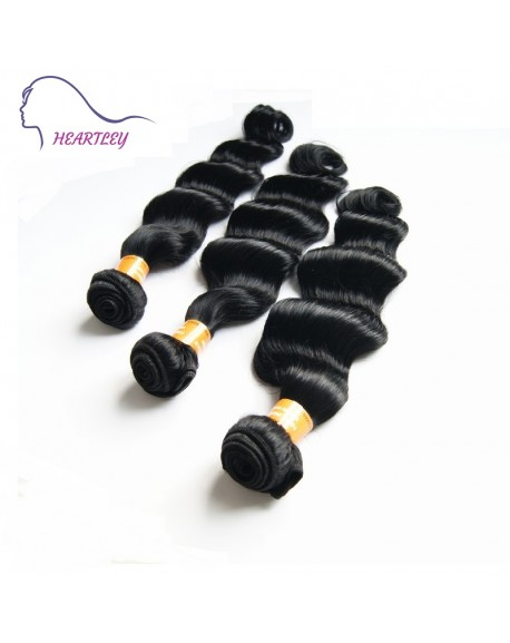 HEARTLEY 8A Indian Virgin Hair Deep Wave 3 Bundles Black Color Remy Hair Extensions