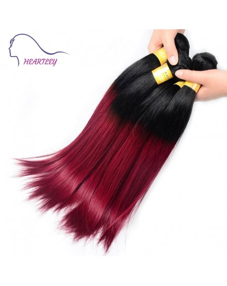 HEARTLEY Nature Straight 2 Tones Ombre 1B/99J Trendy Hair Weaves Remy Brazilian Hair Extensions