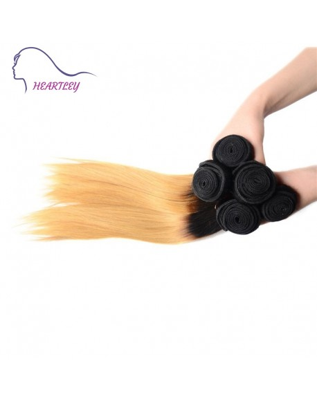 HEARTLEY Brazilian Remy Hair Ombre 1B/27 Straight Black to Honey Blonde 3pcs Hair Weaving Extensions
