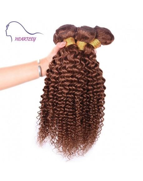 HEARTLEY Popular Brown Virgin Brazilian Hair Weaves 3 Bundles Curly Real Human Hair Extensions