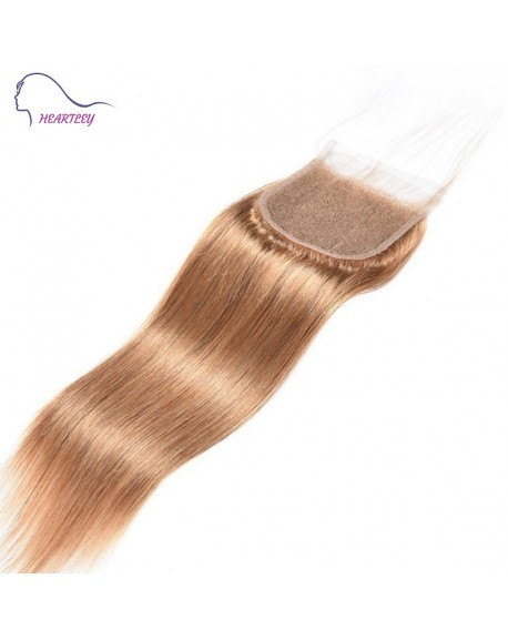 HEARTLEY Silky Straight Lace Closure Honey Blonde Brazilian Virgin Hand-tied Swiss Lace Closure Pieces for Women