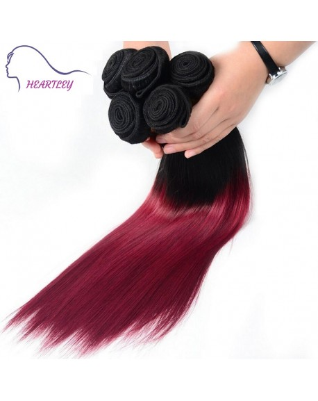 HEARTLEY Silky Straight 2 Tones Ombre 1B/99J Trendy Hair Weaves Remy Peruvian Hair Extensions