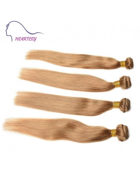 HEARTLEY Brazilian Virgin Nature Straight Hair Pure Color Honey Blonde 3 Bundles Hair Extensions