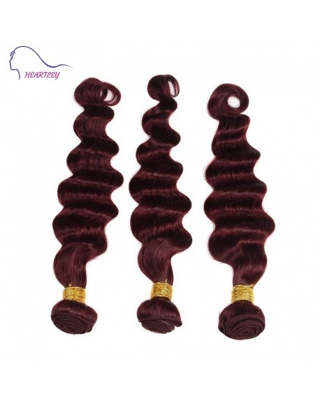 HEARTLEY Brazilian Virgin Pure Color 99J Loose Wave 3 Bundles Deep Wave Hair Extensions