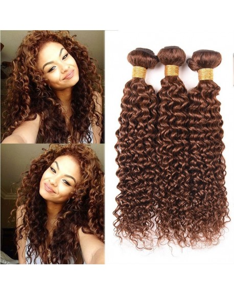 HEARTLEY 3 Bundles Deal Pure Color Dark Brown Kinky Curly Virgin Brazilian Hair Extensions