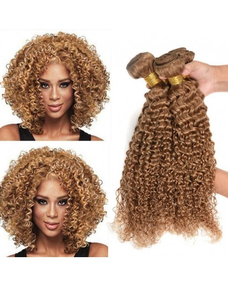 HEARTLEY 8A Brazilian Virgin Curly Hair 3 Bundles Unprocessed Human Hair Honey Blonde Hair Weave