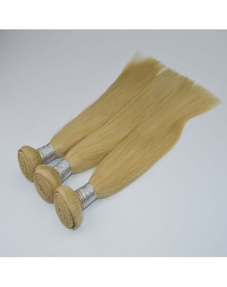 HEARTLEY Brazilian Virgin Human Hair Light Blonde 3 Bundles Nature Straight Hair Extensions