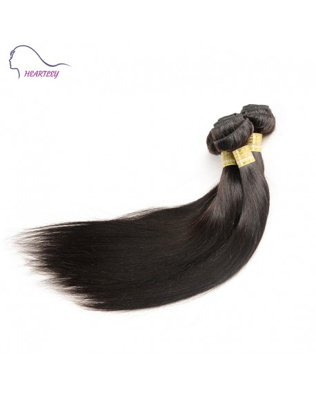 HEARTLEY Indian Remy Hair Nature Straight Hair Weaves 3 Bundles Black color  Hair Extensions